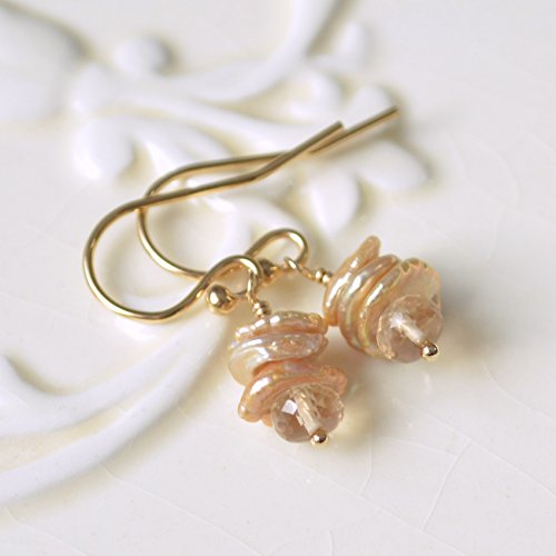 (Champagne Citrine Earrings with Keishi Pearls )