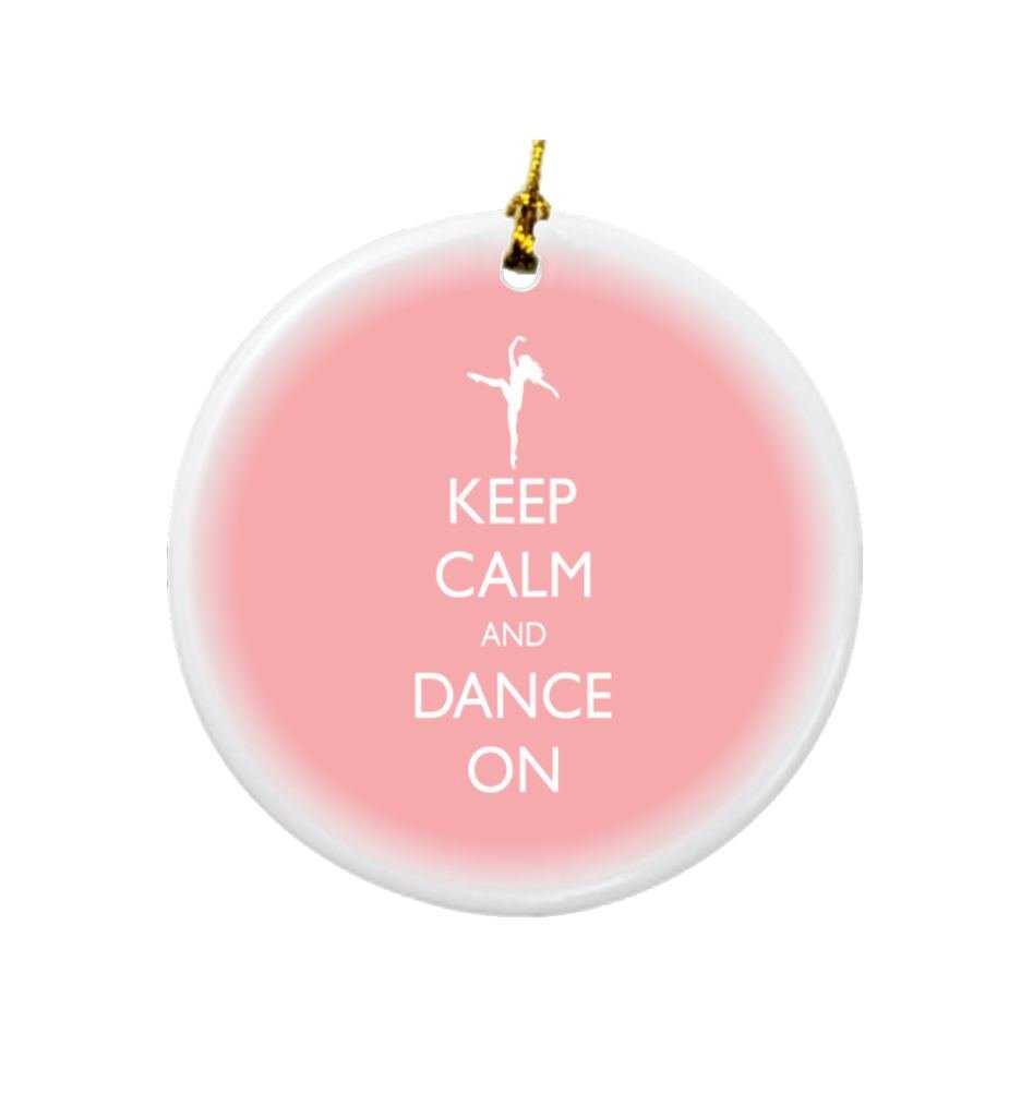 Rikki Knight Keep Calm and Dance on Light Pink Color Design Round Porcelain Two-Sided Christmas Ornaments