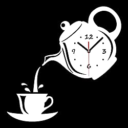 New Arrival Wall Clock Mirror Effect Coffee Cup Shape Decorative Kitchen Wall Clocks Living Room Home Decor (White)