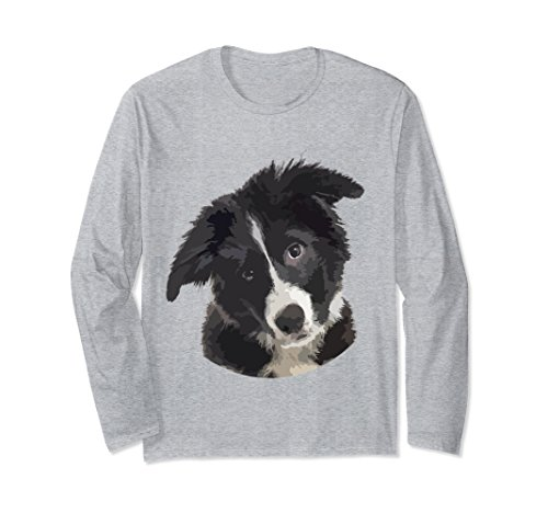 Unisex Artistic border collie puppy dog longsleeved T-shirt XL: Heather (Collie Long Sleeved)