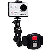 AXESS CS3610SL 4K Full HD Wide Angle Lens Sports and Action Video Camera with Waterproof Housing, Accessories, Remote and Built-in WiFi (White)