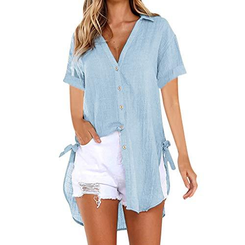 (Emimarol Women Blouse Loose Button Plus Size Long Shirt Dress Cotton Tops Summer T-Shirt 2022 Blue)