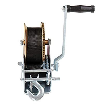 SCITOO Hand Crank Strap Gear Winch 3200 lbs Hand Winches with Nylon Strap for Boat Trailer Auto Manual Lifting Sling Tool