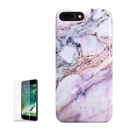 us Case Pink Purple Marble Design for Girls with Screen Protector Full Body Protection Clear Bumper Shockproof Protective Rubber Phone Cases for iPhone 7 Plus & iPhone 8 Plus Skin ()