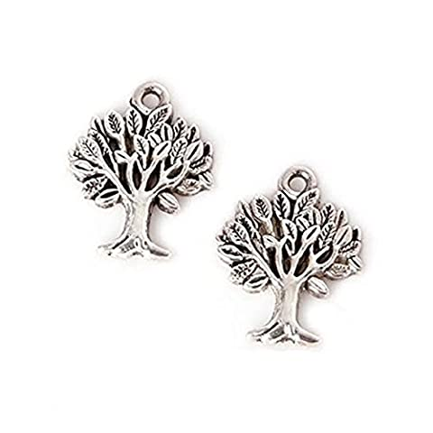 YYaaloa 100pcs 21x16mm Hollow Tree Design Charms Pendant for Necklace Bracelet Crafting Jewelry Making Accessory (Hollow Tree 100pcs - Rose Quartz Rope