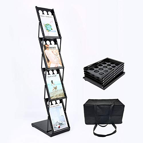 (Polmart 361E Brochure Magazine Catalog Literature Display Holder Rack Floor Pop up Folding Stand, Portable Metal Black 4 Pockets for Trade Show, Office and Retail)
