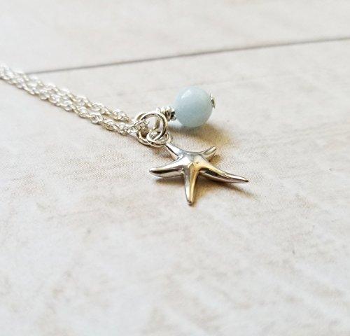 Starfish Necklace Sterling Silver with Aquamarine March Birthstone, Handmade by Gianna's Jewelry Box (Box Aquamarine Genuine Gift)