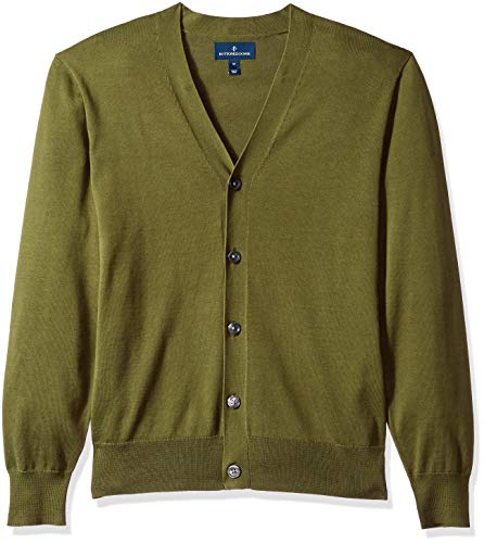 BUTTONED DOWN Men's Supima Cotton Lightweight Cardigan Sweater, olive, X-Large ()