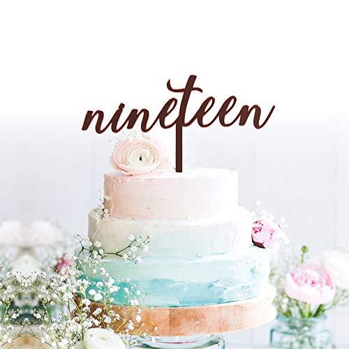 GrantParty Nineteen Rose Gold Cake Topper | 19th Birthday Anniversary Wedding Party Decoration Ideas| Perfect Keepsake (19 Rose -