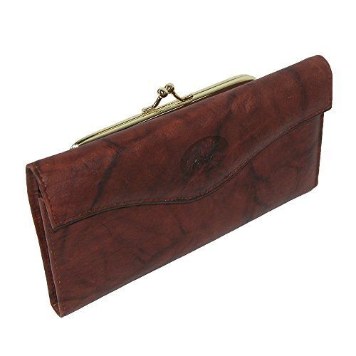 Brown Leather Buxton - Buxton Heiress Organizer Clutch, Mahogany, One Size
