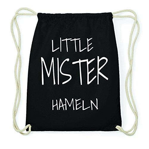 JOllify HAMELN Hipster Turnbeutel Tasche Rucksack aus Baumwolle - Farbe: schwarz Design: Little Mister NRDj6VY