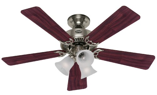 (Hunter 20175 Southern Breeze 42-Inch 5-Blade 3-Light Ceiling Fan, Brushed Nickel with Cherry/Maple Blades and Frosted Ribbed Glass)