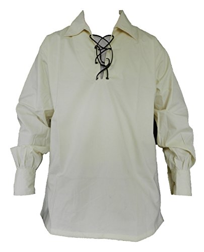 UT Kilts Jacobite Ghillie Shirt Cream Large by UT Kilts