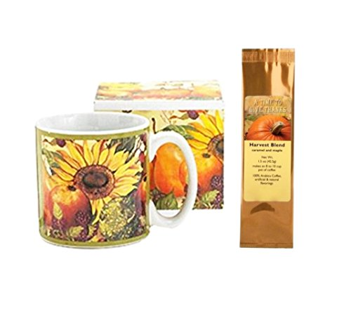 Give Thanks Harvest - Sunflower Fall Fruits Mug and A Time To Give Thanks Caramel Maple Harvest Blend Coffee Bundle Gift Set (2 Items)