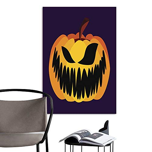 (UHOO Canvas Wall Art Painting Isolated Vector Yellow Orange Festive Scary Halloween Pumpkin Icon1.jpg Nature Canvas Artwork Home Office Wall)