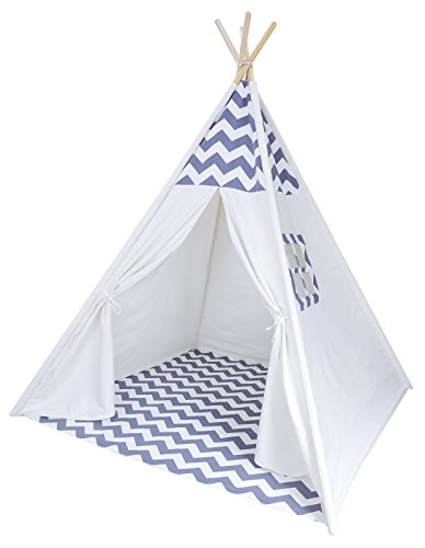 A Mustard Seed Toys Chevron Teepee Tent for Kids - Portable Cotton Canvas Tent with Carrying Case, Makes a Great Indoor Playhouse (4' Side Pocket)