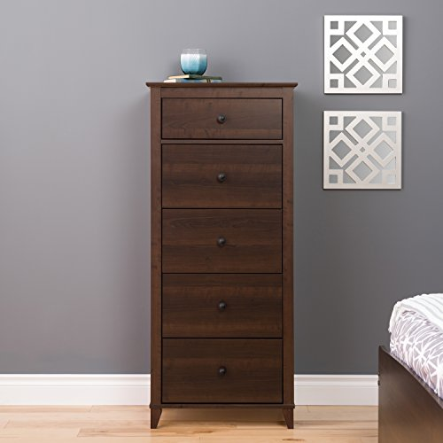 Prepac Yaletown 5 Drawer Tall Chest, Espresso -
