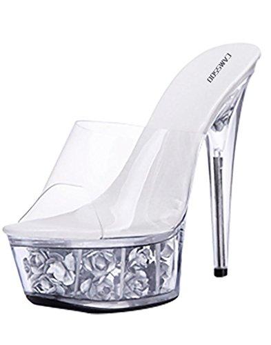 Stilettos Shoes Toe CAMSSOO PVC Floral Fashion Women's Silver Platform High Open Transparent Sandals vYYtxrq
