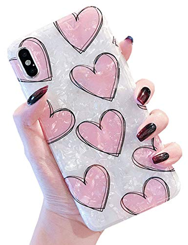 J.west Case for iPhone Xs Max, Luxury Sparkle Bling Crystal Clear Soft TPU Silicone Back Cover for Girls Women for Apple iPhone Xs Max 6.5 inch (Heart)