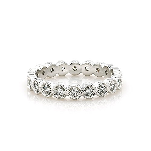 Tousi Art Deco Rings - 18k White Gold Filigree Diamond Ring Style - 14k Gold Band - Diamonds Eternity Bands for Women - Nice Jewelry (Style Diamond Eternity Band)