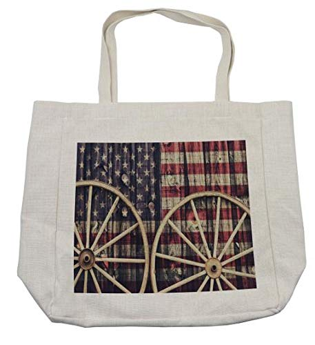 b4e137f61f39 Amazon.com - Ambesonne Western Shopping Bag, Antique Cart Carriage ...