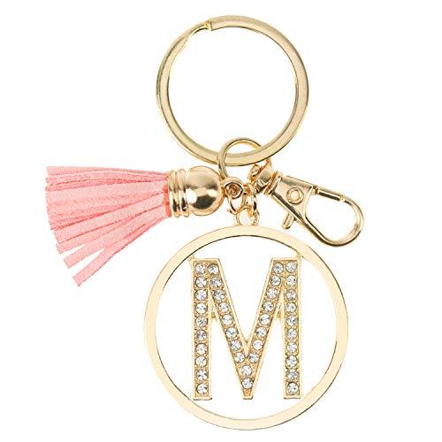 Gold Silver Iced Out Rhinestone Alphabet Initial Letter Keychain, Key Ring, Bag Charm w/Tassel (GOLD-M)]()