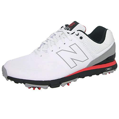 New Balance Men's NBG574 Spiked Golf Shoe, White/Red/Black, 12 4E US