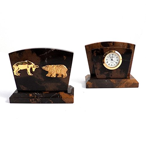 DESK ACCESSORIES -WALL STREET BULL & BEAR MARBLE DESK CLOCK & LETTER - Clock Kensington Table
