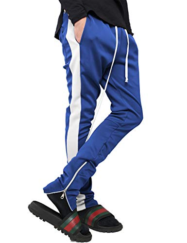 Mens Stripe Track Pants Skinny Fit Stretch Trouser Elastic Jogger 1VWA0006 (Small, p122_Roy/WHI) Clothing Mens Clothing Trousers