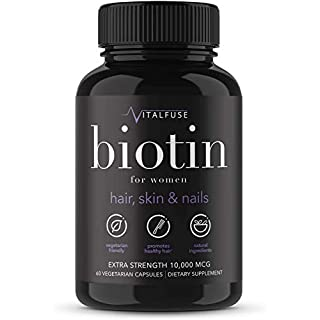 Vitalfuse Biotin 10000mcg Hair Growth Supplements for Women - for Healthy Hair Skin Nails Vitamins for Women - 60 Vegetarian Capsules