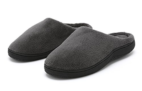 Pembrook Men's Slippers – Comfortable Memory Foam + Soft Fleece. Indoor and Outdoor Non-Skid Sole - Great Plush Slip On House Shoes for adults, Men, Boys