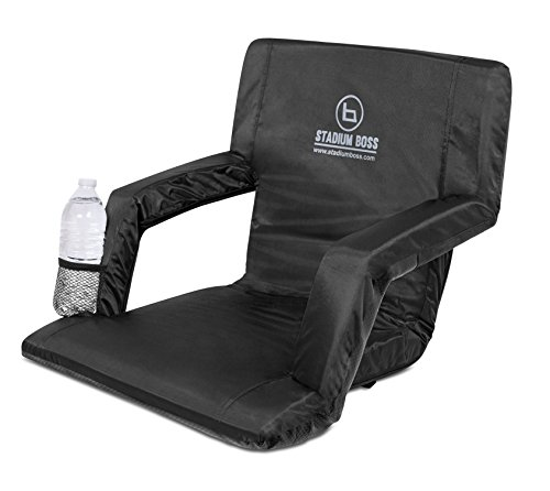 Stadium Boss Seat Reclining Bleacher Chair Folding with Back and Arms – Padded Sport Chair Armrest Recline - Perfect for Bleachers Lawns and Backyards – Supports Your Back – Shoulder Straps Cushion - Back Padded Folding Chair
