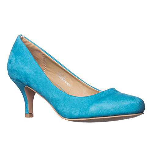 Turquoise Ruby - Riverberry Women's Ruby Round Toe, Kitten Low Height Pump Heels, Turquoise Suede, 10