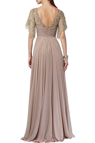 La Abendkleider Hell Neuheit Marie Partykleider Braun Brautmutterkleider Rosa Glamour Langes Braut Spitze AqAf0rE