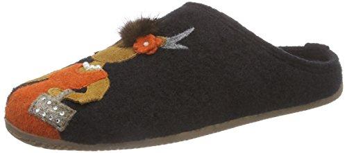 Living Kitzbühel Hirschpaar mit Fußbett Damen Flache Hausschuhe Schwarz (900 schwarz)