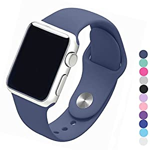 Piwjo Silicone Apple Watch Band and Replacement Iwatch Bands Series 1,Series 2,Series 3 (38mm S/M, Midnight Blue)