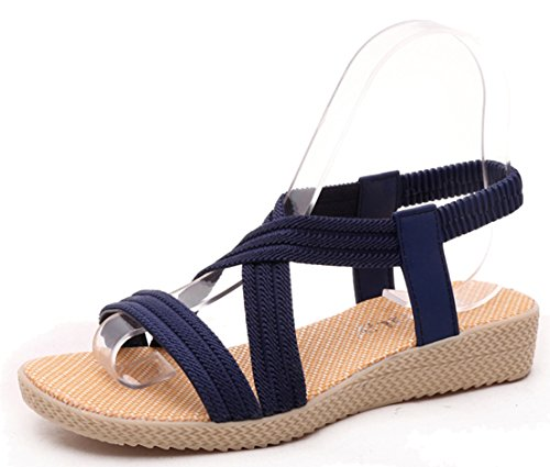 7f253e3d43d0 Femaroly Women s Sandals Summer Simple Flat Solid Elastic Roman Sandals for  Women and Girls 1323Blue 9M