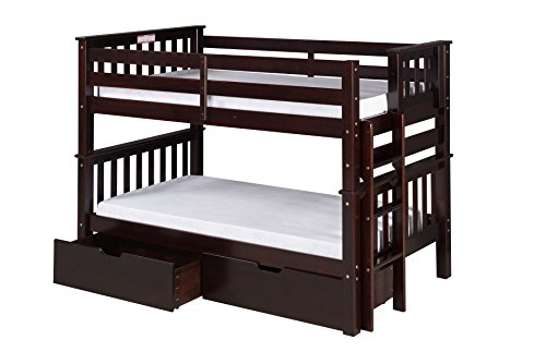 - Camaflexi Santa Fe Mission Low Bunk Bed End Ladder with Under Bed Drawers, Twin Over Twin, Cappuccino