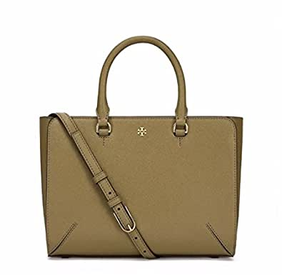 Tory burch small leather robinson top zip green olive tote for Tory burch jewelry amazon