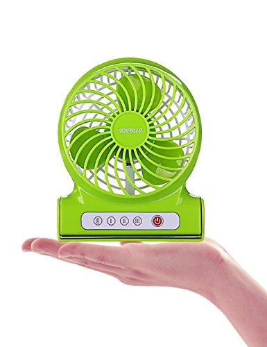 SUNPOLLO Desktop Personal Mini USB Portable Fan 3-Speed Table Desk Handheld Rechargeable 4-inch Fans(Quiet Design,...
