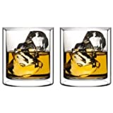 Sun's Tea (Tm) 5.5oz Strong Double Wall Manhattan Style Old-fashioned Scotch/Whiskey/Vodka/liquor Shot Glass, Heavy Duty Espresso Glass, Set of 2