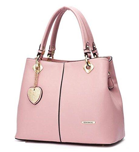 Bagtopia Women's Fashion Leather Top-handle Handbags OL Casual Tote Crossbody Shoulder Bag Satchel Purse(Baby Pink) by Bagtopia