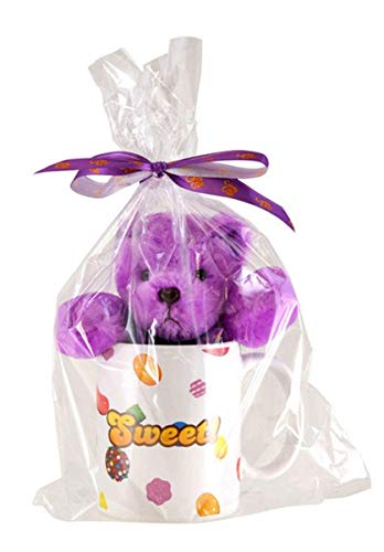 Collectible Ceramic Teddy (Candy Crush Gift-Wrapped Teddy Bear Plush with Ceramic Mug, Purple)