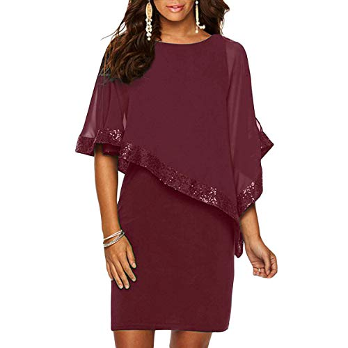 Sequined Overlay - Alaster Queen Sequined Overlay Party Dress Chiffon Poncho Slit Sleeve Pencil Cocktail Mini Dress ... (Burgundy, Small) ...