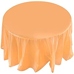 "Whitelotous 84"" Round Plastic Tablecloths Disposable Table Covers for Wedding Camping Catering Party/Orange"