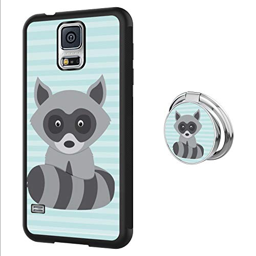 BrunoZF Samsung Galaxy S5 Case with 360 Degree Rotatable Ring Stand Holder Kickstand Slim Soft Protective Back Case Cover for Samsung Galaxy S5 (Black) - Raccoon-Cute3 (S5 Galaxy Raccoon Case Samsung)