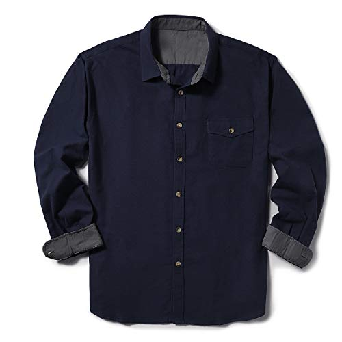 - ZIOLOMA Men's Long Sleeve Flannel Solid Dress Shirts Western Button Down Shirts Navy Blue