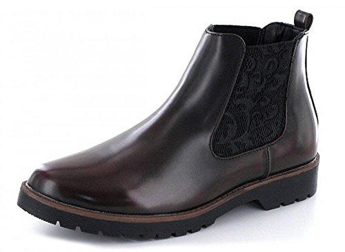 Ankle Boots Bota Borgonha Das Mulheres Firence Cordão Vermelho