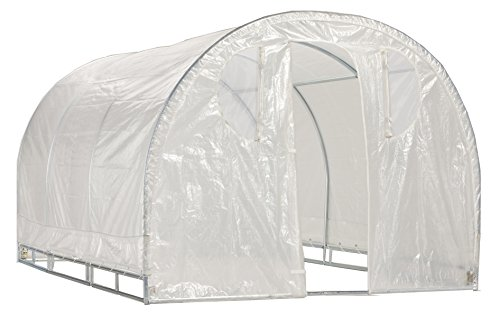 Greenhouse-Weatherguard Walk In Arched Top Garden Hot House Fully Enclosed - Screend Windows for Ventilation, Zippered Door (8'W x 8'L x 6'6