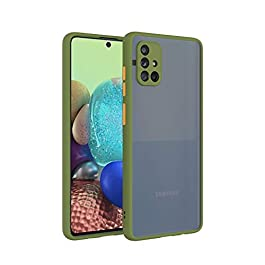 AE Mobile Accessories for Samsung A51 Back Case Smoke Translucent Shock Proof Smooth Rubberized Matte Hard Back Case Cover (Olive)